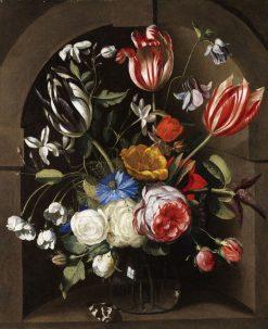 Flowers in a Stone Niche | Johannes van der Baren | Oil Painting