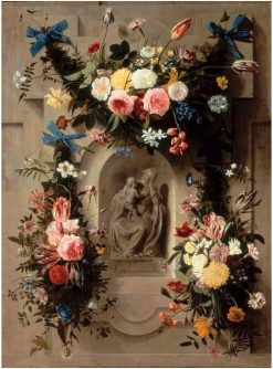 Garlands of Flowers surrounding a Statue of the Madonna and Child in a Niche | Johannes van der Baren | Oil Painting