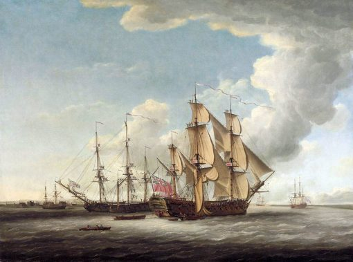 Two 32-Gun Frigates Receiving their Captains | John Cleveley the Elder | Oil Painting