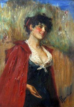 Portrait of a Lady Wearing a Red Cape | John Pettie