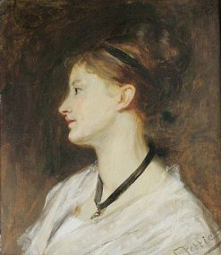 Girl in Profile: bust length study | John Pettie