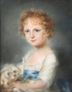 Portrait of a Young Girl with a Dog | John Russell | Oil Painting