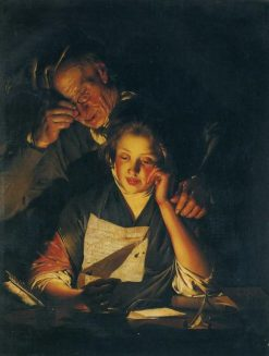 A Girl Reading a Letter with an Old Man Reading over Her Shoulder | Joseph Wright of Derby | Oil Painting