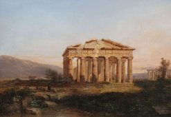 The Temple at Paestum in Evening Light | Jules Coignet | Oil Painting