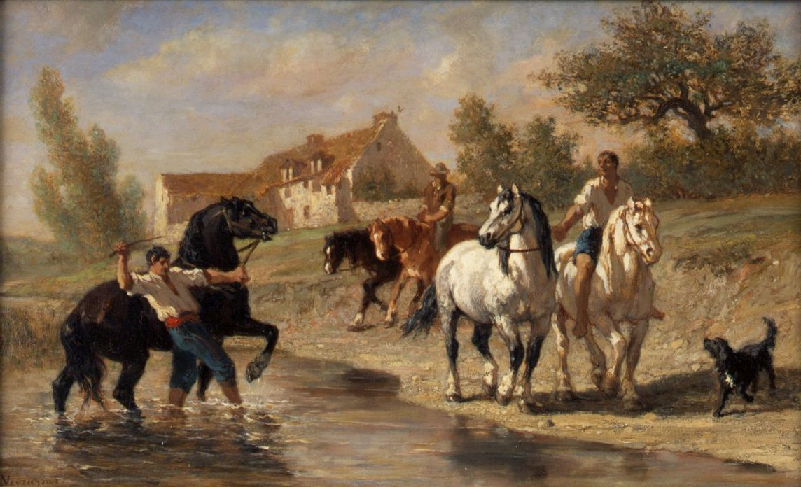 Watering the Horses | Jules Jacques Veyrassat | Oil Painting