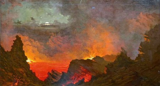 Kilauea by Moonlight | Jules Tavernier | Oil Painting