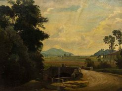 Country Road over a Bridge with Mountains and the Sea Beyond | Karl August Heinrich Ferdinand Oesterley
