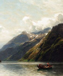 Summer- Fishing On A Norwegian Fjord | Karl August Heinrich Ferdinand Oesterley