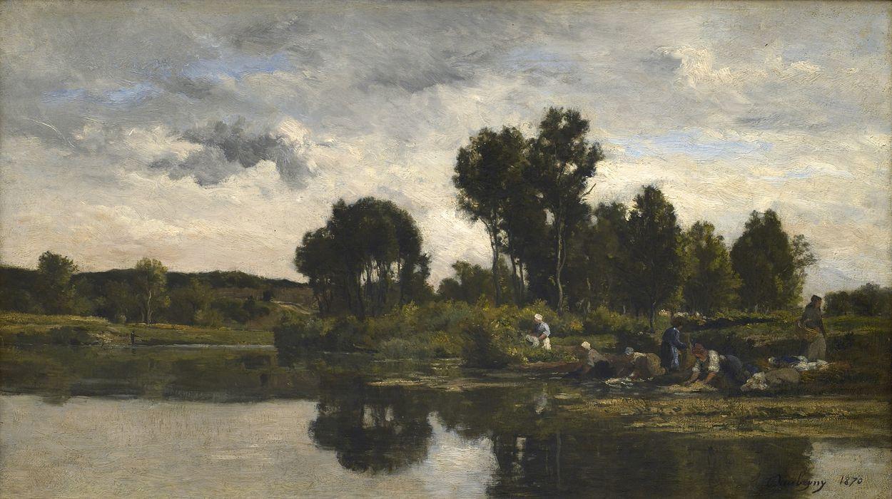 Les Lavandieres au bords d'un ruisseau (Laundresses on the Banks of a Stream) | Karl Pierre Daubigny | Oil Painting