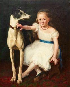 Flika med hund   Knut Ekwall   Oil Painting