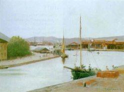 Kanalmotiv med skutor   Knut Ekwall   Oil Painting
