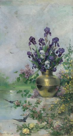A Vase of Irises on the Terrace | Louise AbbEma | Oil Painting