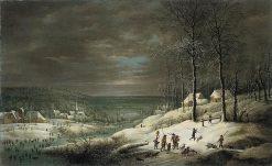 Winter Landscape with Hunters | Lucas van Uden | Oil Painting