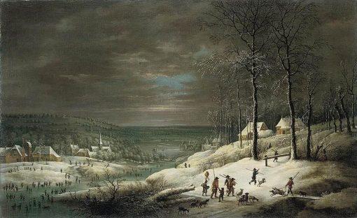 Winter Landscape with Hunters   Lucas van Uden   Oil Painting