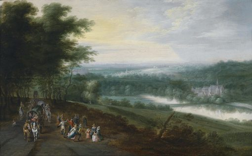 Extensive River Landscape with Travelers and Dancing Peasants | Lucas van Uden | Oil Painting