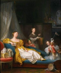 Family Playing with a Dog | Marguerite GErard | Oil Painting