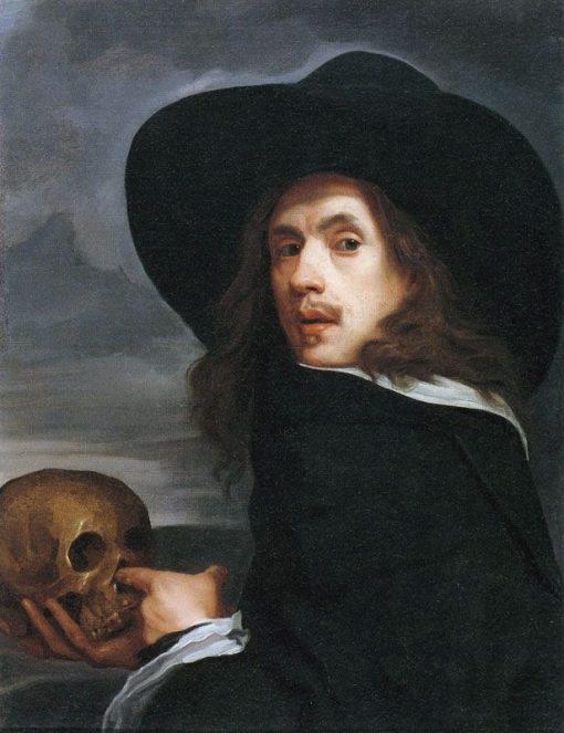 Portrait of a Man Holding a Skull   Michiel Sweerts   Oil Painting