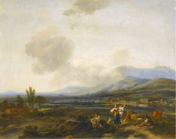 An Extensive Italianate River landscape with Herders dancing and Making Merry | Nicolaes Berchem | Oil Painting