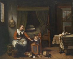 Domestic Interior with a Young Woman Peeling Apples and a Small Child | Nicolaes Maes | Oil Painting