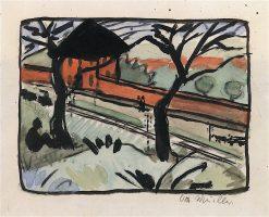 Village Road - Station in Schmeideberg | Otto Mueller | Oil Painting