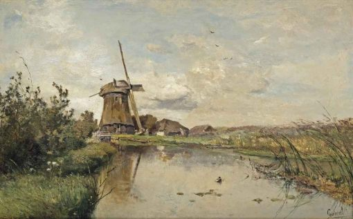 A River Landscape with a Windmill | Paul Joseph Constantin Gabriel | Oil Painting