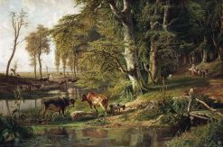 Grazing Cattle by a Woodland Stream | Paul Joseph Constantin Gabriel | Oil Painting