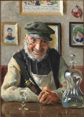 Interior with an Old Man Enjoying his Pipe and an Akvavit | Peder Mork Mønsted | Oil Painting