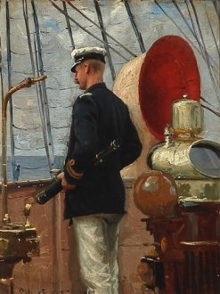 Count Christian Valdemar Danneskiold-Samsoe on the deck of a sailing ship near St. Thomas
