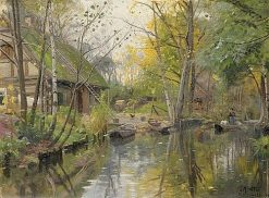 Spreewald River Barges - Autumn | Peder Mork Mønsted | Oil Painting