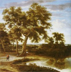 Landscape with a large Tree   Philips Koninck   Oil Painting