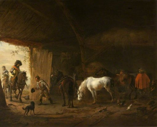 The Stable with the Grey Horse   Philips Wouwerman   Oil Painting