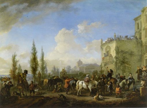A Hawking Party Taking Leave of their Hostess | Philips Wouwerman | Oil Painting