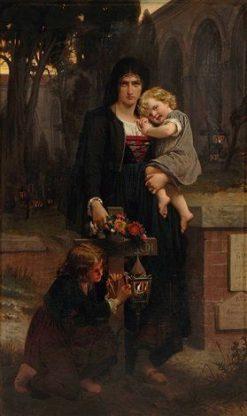 Sa me?re avec ses deux enfants a? la tombe du pe?re | Pierre Auguste Cot | Oil Painting