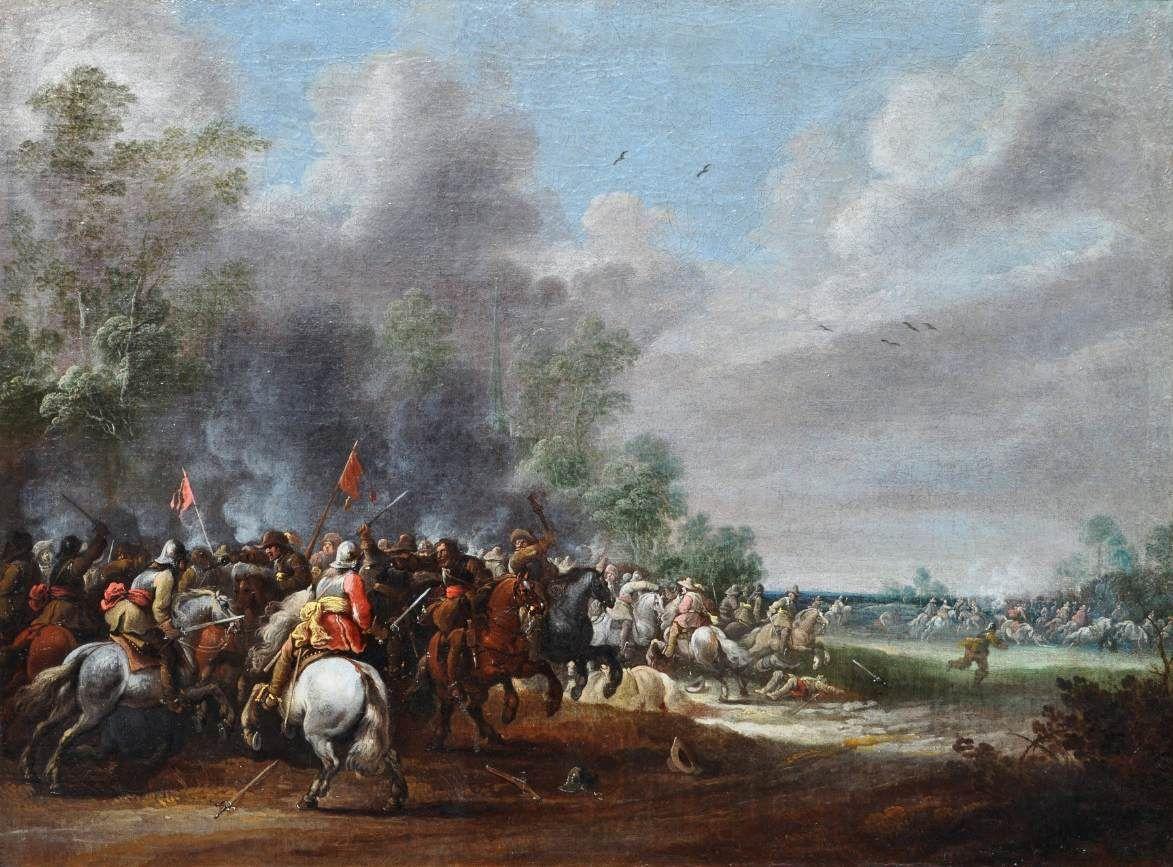 Cavalry Battle Scene   Pieter Meulener   Oil Painting