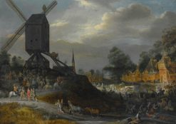 Sack of a Flemish Village by Spanish Soldiers   Pieter Meulener   Oil Painting