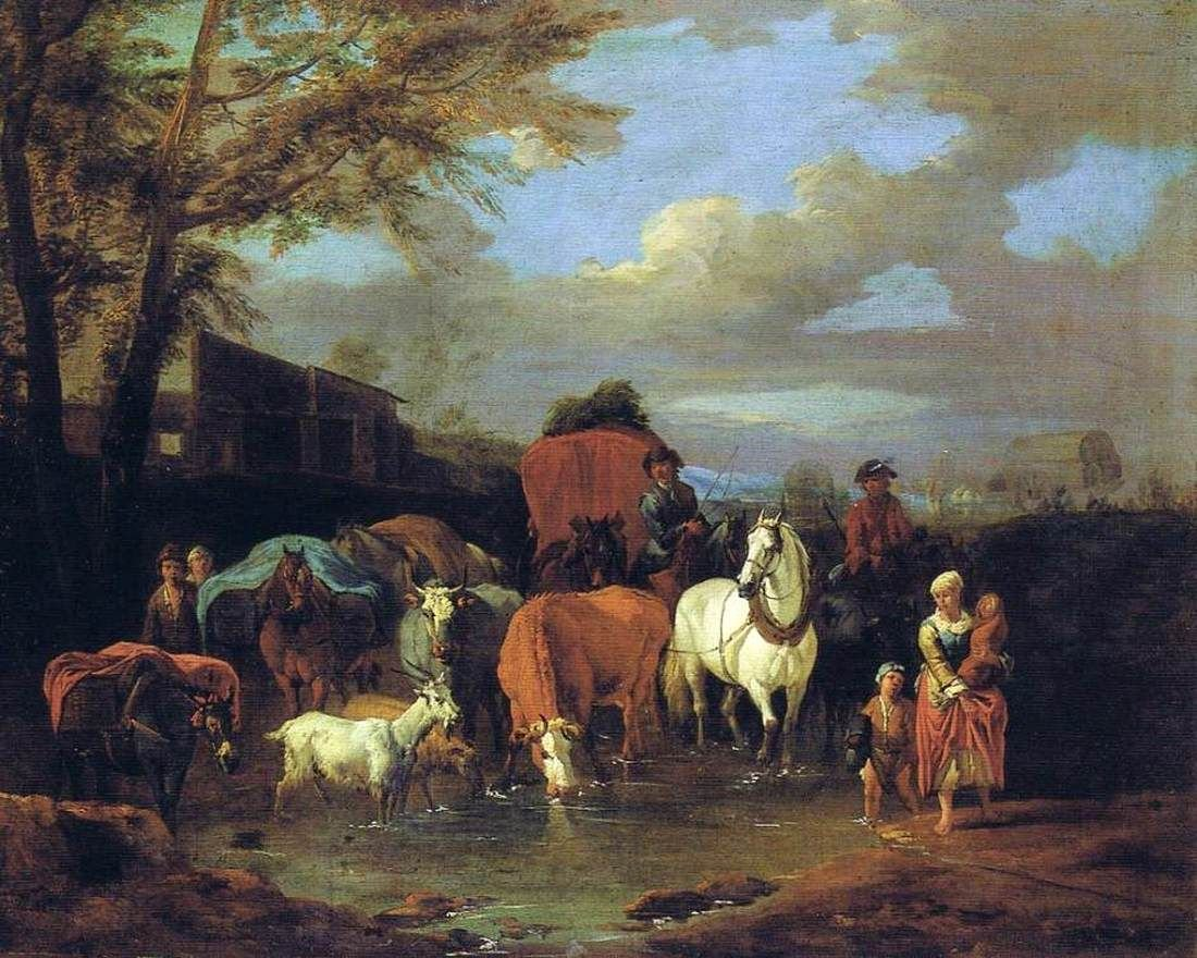 Drovers with Cattle and Goats Fording a Stream | Pieter van Bloemen | Oil Painting