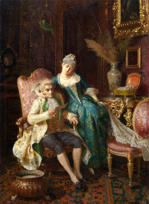 Courtship(also known as The Letter) | Pio Ricci | Oil Painting