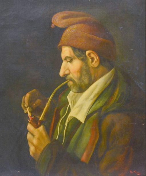 Man Lighting a Pipe | Pio Ricci | Oil Painting