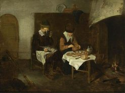 Couple Having a Meal before a Fireplace | Quiringh van Brekelenkam | Oil Painting