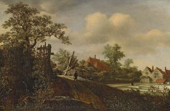 Landscape with a Figure on a Path and a Bleaching Field beyond | Roelof van Vries | Oil Painting