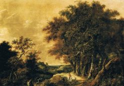 Wooded Landscape with a Peasant Greeting a Rider | Roelof van Vries | Oil Painting