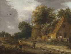 Three Figures on a Road before a Cottage | Roelof van Vries | Oil Painting