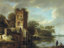 Dutch River Landscape with a Ruined Tower and Men Fishing | Roelof van Vries | Oil Painting