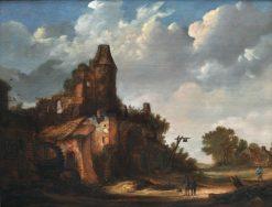A Watermill beside a Ruined Castle | Roelof van Vries | Oil Painting
