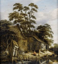 Cottage on a River with Figures | Roelof van Vries | Oil Painting