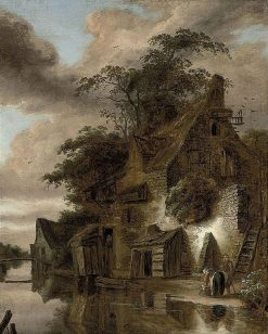 A Cottage by a River | Roelof van Vries | Oil Painting