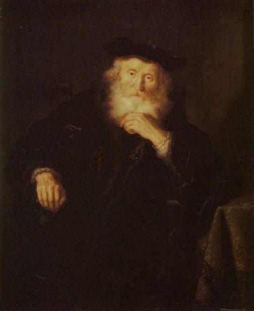 Old Man Thinking   Salomon Koninck   Oil Painting