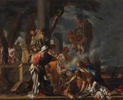 King Solomon Sacrificing to the Idols | Sebastien Bourdon | Oil Painting
