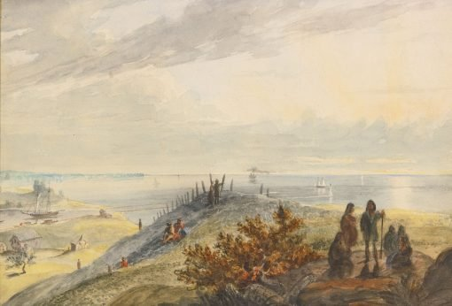 Lake Erie from Cleveland   Seth Eastman   Oil Painting
