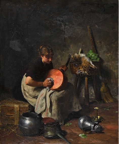 Maid in the Kitchen(also known as Magd in der Kuche) | Victor Gabriel Gilbert | Oil Painting